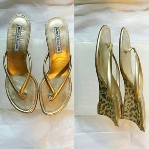 Manolo Blahnik Gold Leather Thong Wedge Sandals
